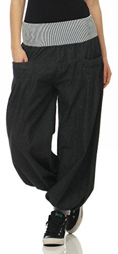malito Damen Pumphose im Denim Style   perfekte Jeans zum Tanzen   Aladinhose zum Chillen   Haremshose – Goa 6258 (dunkelgrau)