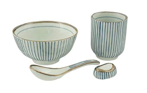 ssel-Set mit 11,4 cm Schüssel, Löffel, Essstäbchenablage und Teetasse, 4-teilig 4 Piece Set Blue Stripes ()