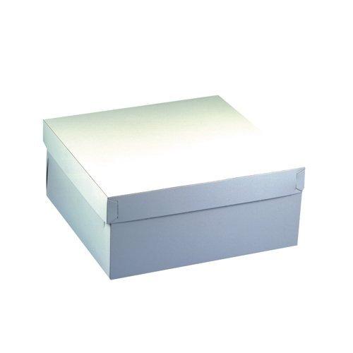 Papstar Tortenkarton / Kuchenkarton weiß, eckig (10 Stück), mit Deckel, hergestellt aus Pappe, 30 x 30 x 13 cm, Stärke 600 g/m², lebensmittelecht, #18857