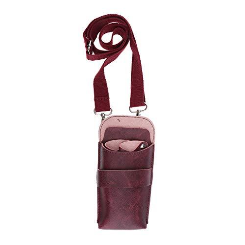 IPOTCH Hochwertig Friseurtasche Scherentasche Gürteltasche Werkzeugtasche aus Kunstleder - rot