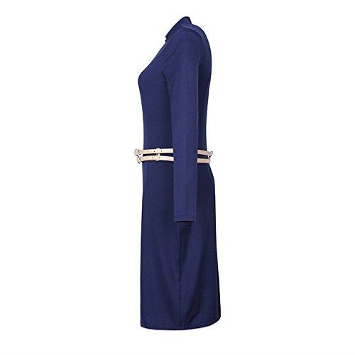 Lukis Damen Etuikleid Slim Kleid 3/4 Ärmel Casual Frühling Dunkelblau