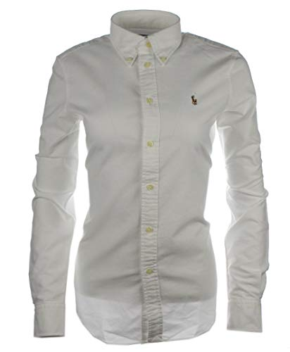 Ralph Lauren Damen Bluse/Hemd - Baumwoll-Hemd (Weiß, M)