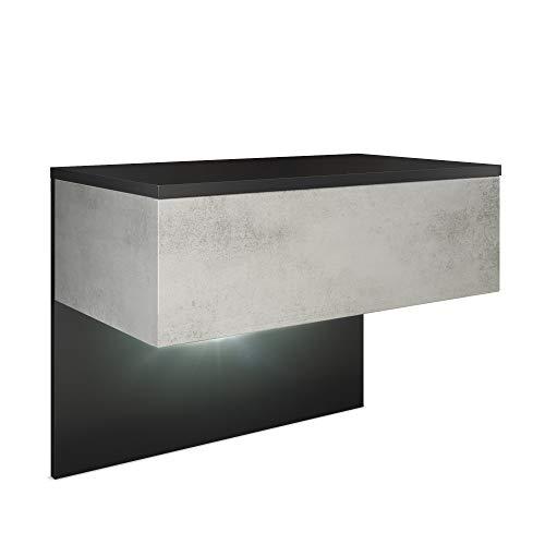 Vladon Nachttisch Nachtkonsole Sleep, Korpus in Schwarz matt/Front und Seiten in Beton Oxid Optik, inkl. LED Beleuchtung