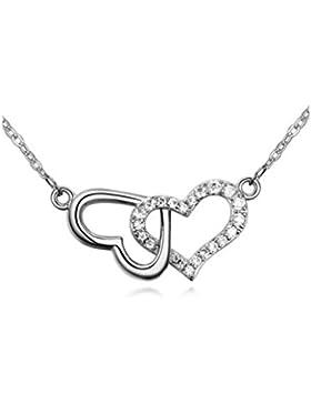 Herzkette Silberkette Kette mit Anhänger Herz Love Liebe Heart Necklace Chain mit Strass Zirkonia Edelsteinen...