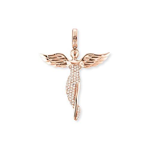 Engelsrufer Engel Anhänger für Damen Rosévergoldet 925er-Sterlingsilber Weiße Zirkonia Größe 26 mm