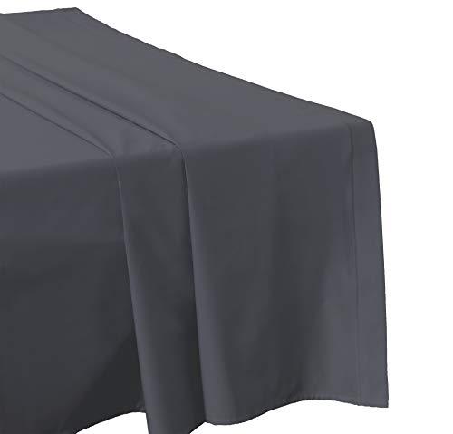 Atelier Coton Drap Plat 180X290 Gris-Anthracite Percale (Existe en 15 Couleurs différentes et 2 Tailles)