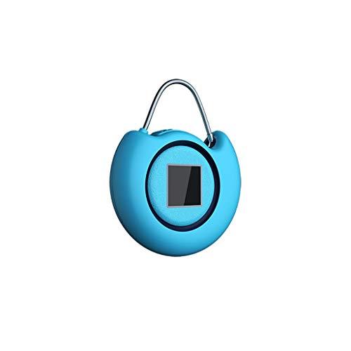 Mini Smart Passwort Fingerabdruckschloss Tragbares Gepäck Kleine Verpackung Kabinett Fingerprint Passwort Vorhängeschloss (Color : Sapphire blue) - Schalten Alarm Des