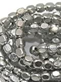 #4: Beadsnfashion Jewellery Making Metal Hammered Cube Beads Silver 4 mm, Pack of 50 Grams