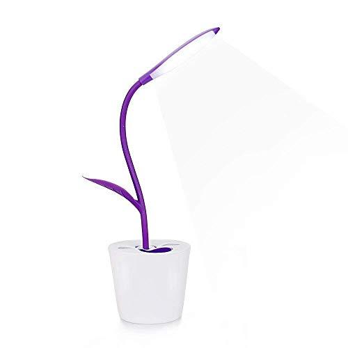 VOVOVO LED-Schreibtischlampe, Kinder-Lampe, Flexibles Licht mit USB-Ladeanschluss, Touch-Steuerung, Augenpflege-Leselampe für Kinder, Grün violett