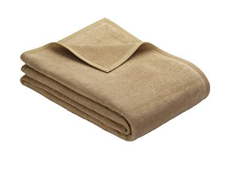 Ibena Porto Kuscheldecke 150x200 cm - Wolldecke camel einfarbig, pflegeleichte Baumwollmischung, kuschelig weich und angenehm warm