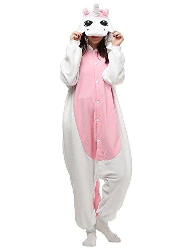 Pyjamas Tier Kostüm Schlafanzug Jumpsuit Erwachsene Unisex Cosplay Halloween Karneval (Medium, (Weißes Einhorn Kostüm)