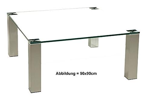 Tischdesign24 Modell Brisbane701. Exklusiver Couchtisch mit einer 12mm starken OptiWhite RAL 9003 Weiß Glasplatte. Größe: 70x70cm. Stollen in 80x80mm Edelstahl gebürstet mit Rollen.Tischhöhe 42cm.