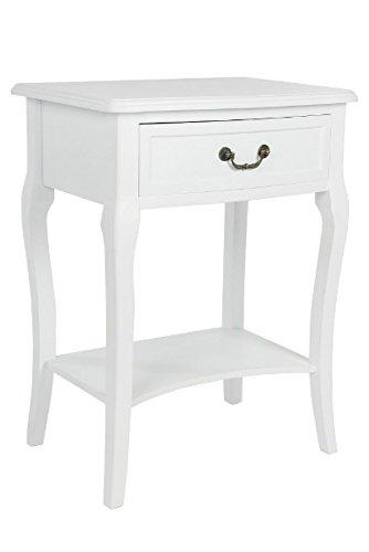 elbmöbel Nachttisch Beistelltisch weiß Antik schmal rund mit Schublade (Weiß, B56 x H82 x T35 cm) (Nussbaum Körbe)