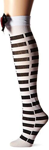 Smiffys Fever Damen Halterlose Strümpfe, Gestreift mit Spielkarten Symbolen und Schleifen, Blickdicht, One Size, Schwarz-Weiß, 42708