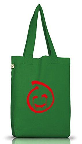 Shirtstreet24, Red John Smiley, Jutebeutel Stoff Tasche Earth Positive (ONE SIZE) Moss Green