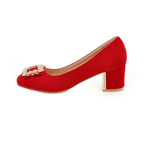 ENMAYER Femmes Bloc Feuillet De Cuir Chaussures Ronde Sur Bowite Mi - Talons De Chaussures Rouge#Crystal