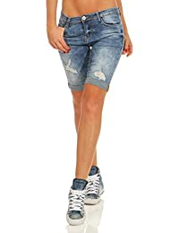 11529 Fashion4Young Damen Jeans Bermuda Hose Röhrenjeans Denim Shorts  Hotpants Risse Jeansbermudas Slimline 8dc94e7ed9