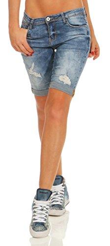 11529 Fashion4Young Damen Jeans Bermudas Hose Röhrenjeans Denim Shorts Hotpants Risse Jeansbermudas Slimline (blau, XL-42)