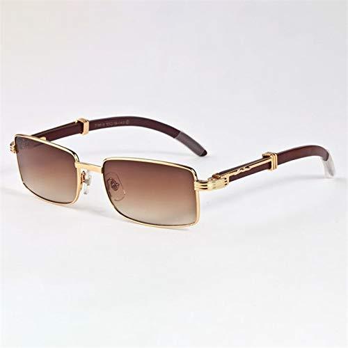 LKVNHP Neue Hochwertige Holz Sonnenbrille Männer Markendesigner Sonnenbrille Für Mann Holz Tempel Sonnenbrille Anti Reflektierende Name BerühmteBraun
