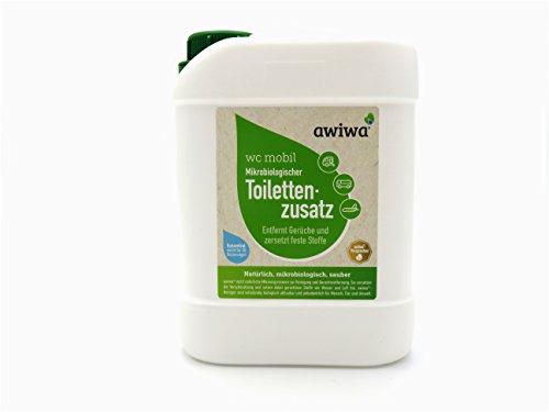 awiwa wc mobil Bio Toilettenzusatz Sanitärflüssigkeit für Wohnmobil Wohnwagen Caravan Boot. Öko Zusatz für Campingtoilette Chemietoilette Kassettentoilette und Fäkalientank. (biologisch abbaubar,1L=20 Dosierungen) (2,5 Liter)