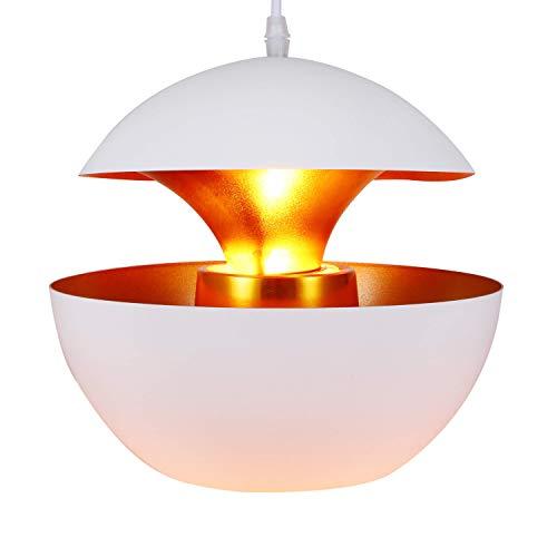 Asvert Retro Industrie neue Hängeleuchte Pendelleuchte weiß Aluminium Art Deco Vintage Deckenleuchte E27 Fassung für Esstisch Küche Kaffee Bar Loft Beleuchtung, (außen weiß innen gold) -