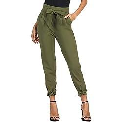GRACE KARIN Pantalon Femme avec Poches Casual élastique Trouser Cigarette Automne Taille Haute Confortable Bow-Knot Olive M CL903-2