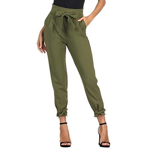 GRACE KARIN Donna Pantaloni a Matita a Vita Alta con Cintura Elasticizzata Leggeri per Primavera Estate Verde Oliva XL CL10903-2