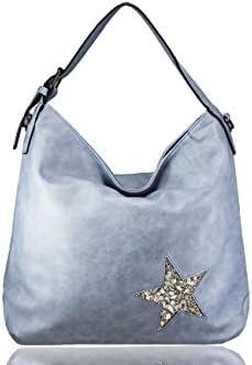 FERETI Bolso grande Azul celeste claro con estrella cristales y conchas
