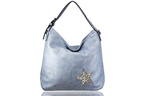 FERETI Borse Blu chiaro grande con stella design cristallo pietre e conchiglie