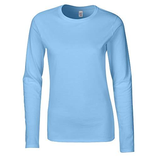 Gildan Damen Langarm T-Shirt / Sweatshirt (M) (Hellblau) M,Hellblau (Schlumpf Schlumpfine Kostüm)