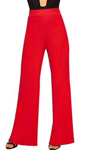 WEARALL - Femmes Évasée Large Jambe Plaine De Base Élevé Taille Pantalon Dames Palazzo Pantalon - 34-42 Rouge