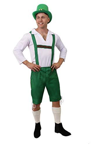 ILOVEFANCYDRESS Erwachsene Leprechaun KOSTÜM - ST. Patricks Day KOSTÜM - GRÜNER Hose, WEISSES Hemd UND Zylinder (X-GROẞ) (Glücklicher Kobold Kostüm)