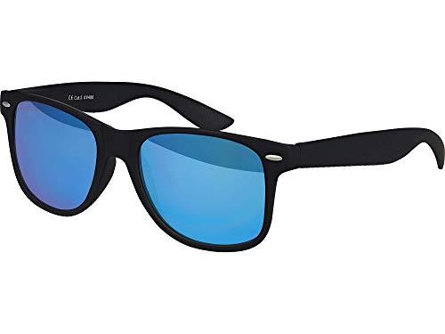 Balinco Hochwertige Nerd Sonnenbrille Rubber im Wayfarer Stil Retro Vintage Unisex Brille mit Federscharnier - 96 verschiedene Farben/Modelle wählbar (Schwarz - Blau verspiegelt)