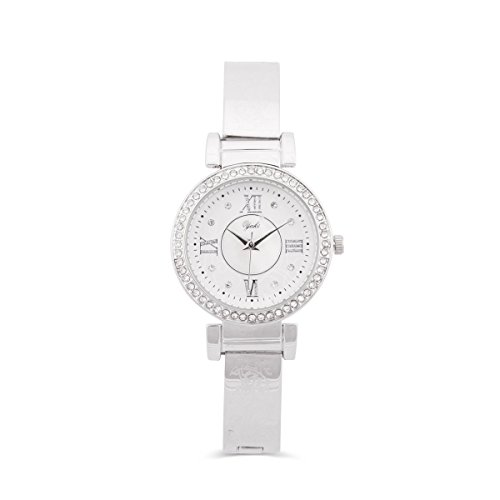 Yaki Söhne Damenuhr Luxusuhren Damen Armbanduhr Elegante Frauen Uhr Quarzuhr Edelstahl Silber,Weiss