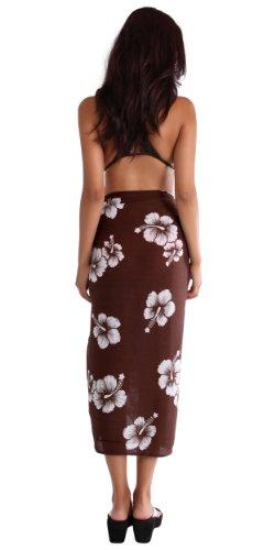 1 World Sarongs Damen Hibiskus Blumen Badeanzug Sarong in Ihrer gewählten Farbe Braun/Weiß Wf