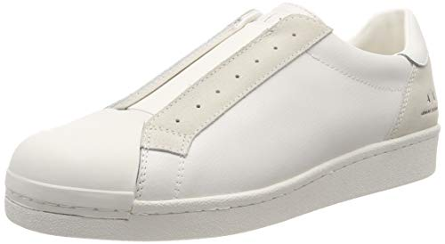 Armani Exchange Herren Suede + Leather Slip On Sneaker, Weiß (Optical White 00894), 45 EU