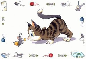 Trixie 24544 Napfunterlage, Comic-Katze, 44 × 28 cm -