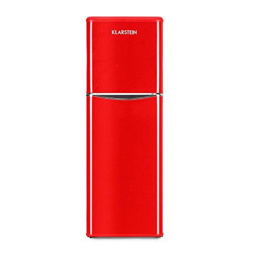 Klarstein Monroe XL - Combiné, Réfrigérateur & congélateur, Économe, Look rétro, Volume de 97 litres, Réglable sur 5 niveaux, 0-10 °C, Bruit réduit, Rouge