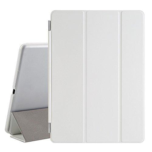 Besdata® iPad Air 2 Hülle - Ultra Dünn Edles Smart Cover Leder Case Schutz Hülle Tasche + Back Case für ipad air 2 ipad 6 - inkl. Displayschutzfolie Reinigungstuch Stift mit Multi Ständer Auto Sleep Wake (Weiß, iPad Air 2)