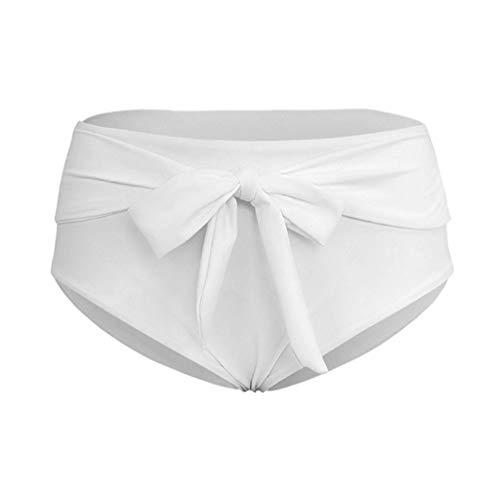 XuxMim Frauen Sexy Bandage Solid Print Badeanzug Hohe Taille Bikini Bademode Badehose(Weiß,Small)