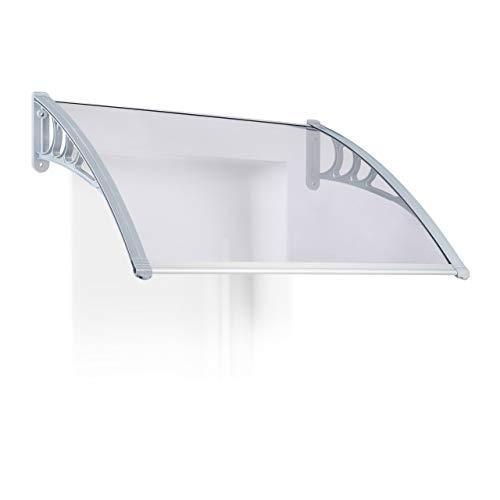 Relaxdays Vordach Haustür, Überdachung transparent, massive Polycarbonat-Platte 3 mm dick, HxBxT: 28x151x94,5 cm, grau