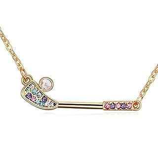 Daesar Schmuck Damenkette Vergoldet Hair Stick Halskette Zirkonia Strass Anhänger Halskette für Frauen