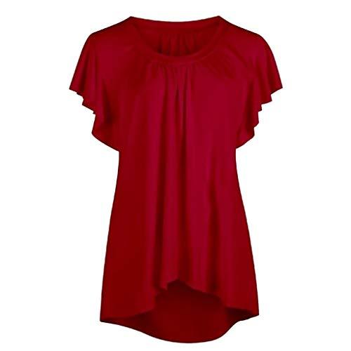 Mantel Fuchsia Satin (TOPSELD Top Damen, Damenmode RüSchen Hemd Weste Tau Schulter Nutzpflanze Sommer Bluse)