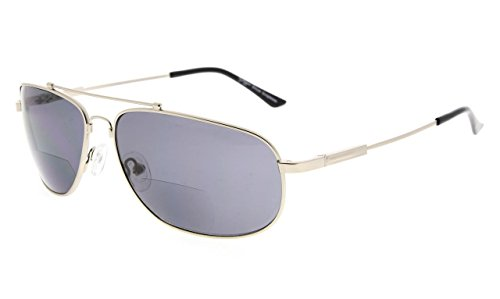 Eyekepper Bifokal Lesen Sonnenbrillen Biegsamen Speicher Sun Leser Frauen Männer (Silber Rahmen Grau Linse,+1.00)