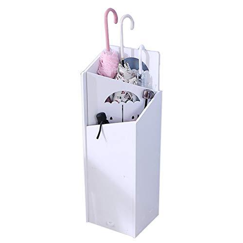 Schirmständer, Weißer Schirmständer für den Eingangsbereich mit Auffangschale für Stöcke/Spazierstöcke