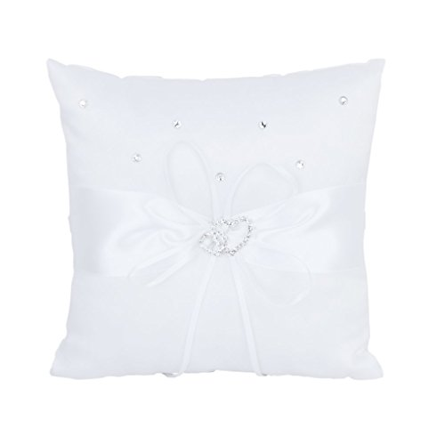 20 x 20cm Double-Heart Wedding Pocket Ring Bearer Pillow Cushion---White