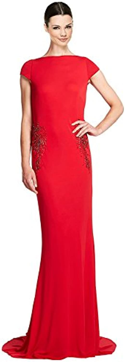 Badgley Mischka Beaded Draped Back Jersey Evening Gown Dress