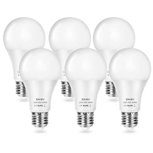 ZIKEY Bombilla LED A65, Esférica E27, 12 W equivalentes a 100 W, 3000K Luz Blanco Cálido, 1100 lúmenes, No regulable - Paquete de 6