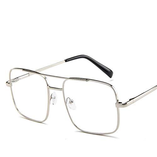 Fashion Square Sonnenbrille Männer Übergröße Fahren Coole Sonnenbrille Männlich Retro Vintage Übergröße Shades Weiblich Eyewear (Lenses Color : Silver Clear)
