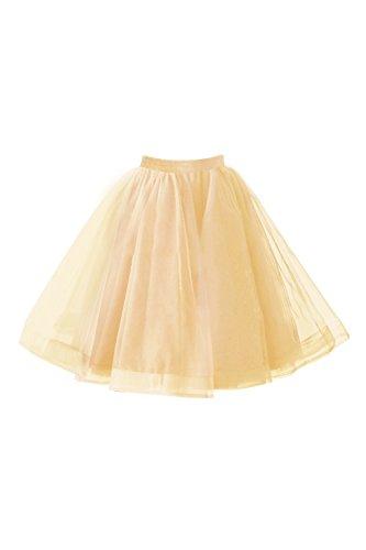 Babyonlinedress® 50s Petticoat knielang Vintage Retro Reifrock Unterrock Underskirt Crinoline für Wedding Bridal Rockabilly Kleid (Erwachsene Braun Steampunk Kostüme Hosen)